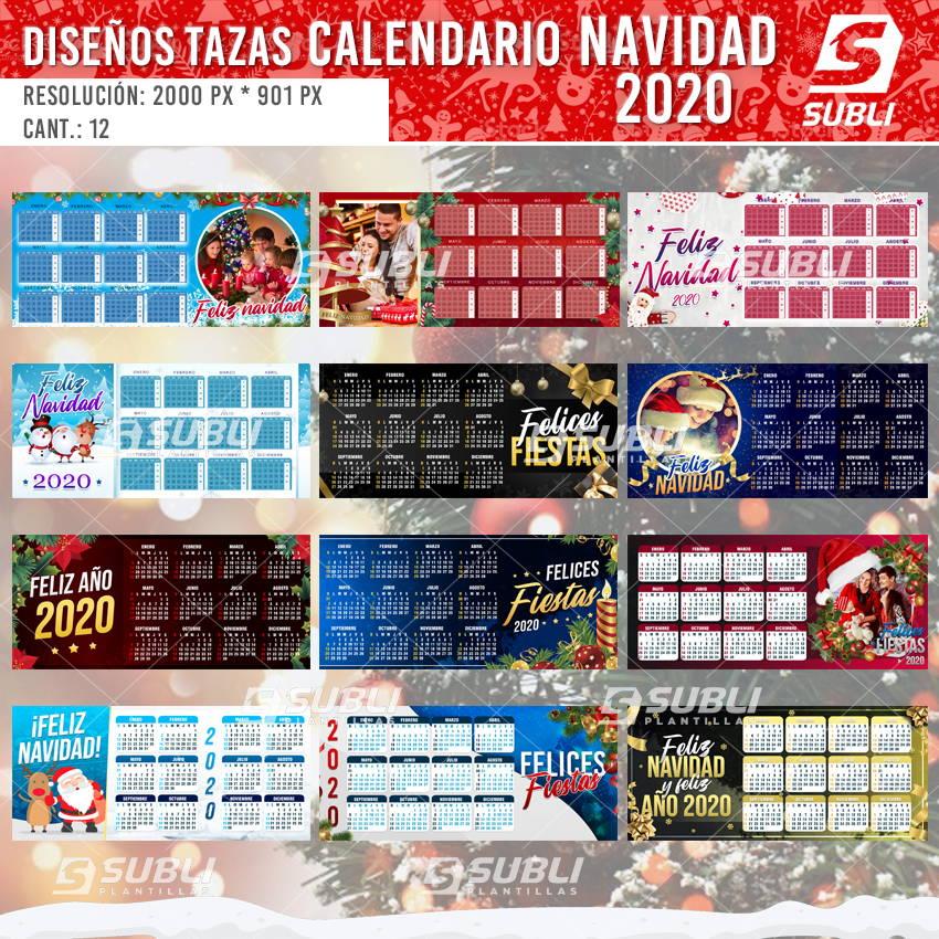 diseños plantillas para sublimar tazas de calendario navidad 2020