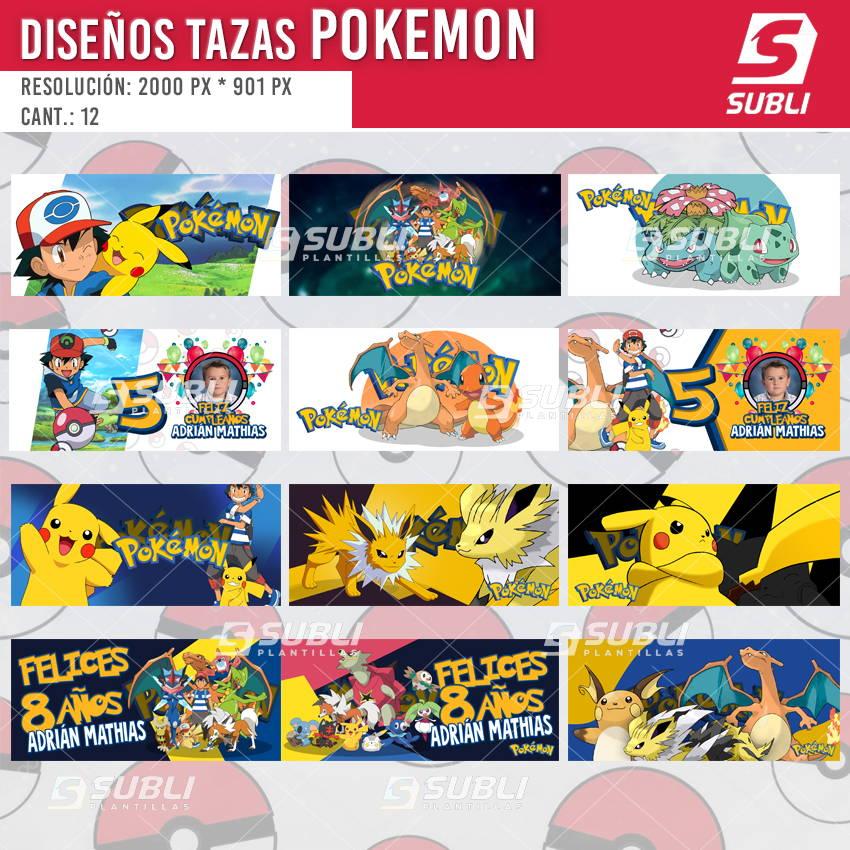 diseños plantillas para sublimar tazas de pokemon