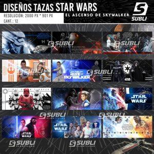 diseños plantillas para sublimar tazas de star wars el ascenso de skywalker