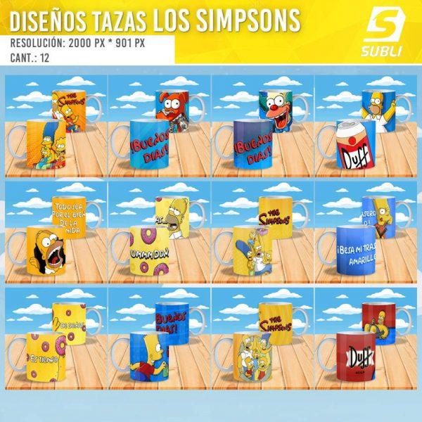 diseños plantillas para sublimar tazas de los simpsons