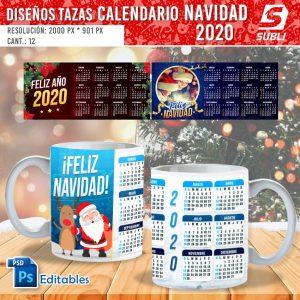 plantillas para sublimar tazas de calendario navidad 2020
