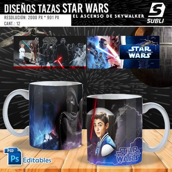 plantillas para sublimar tazas de star wars el ascenso de skywalker