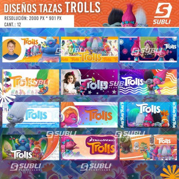 diseños plantillas para sublimar tazas de trolls