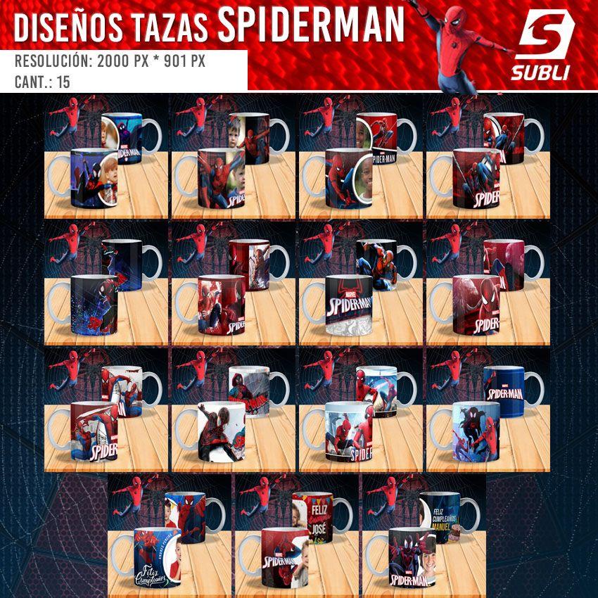 diseños plantillas para sublimar tazas de spiderman