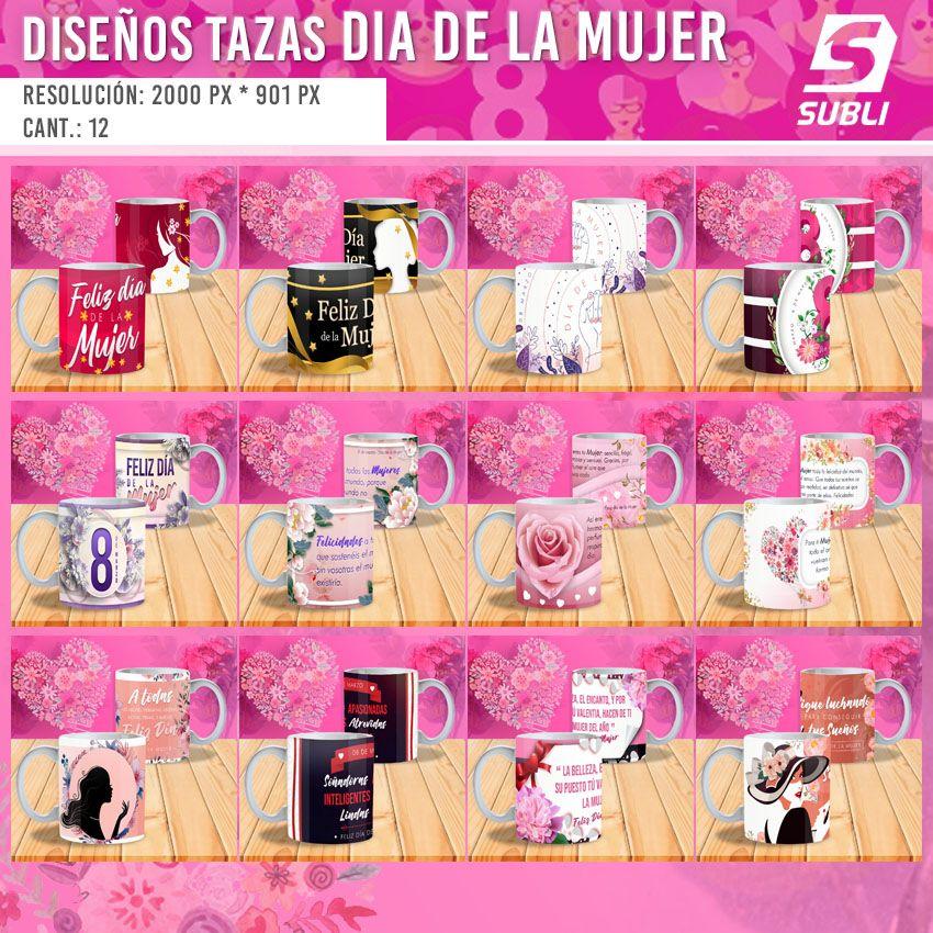 diseños plantillas para sublimar tazas del dia de la mujer 8 de marzo