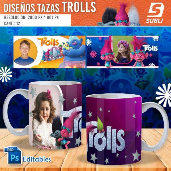 plantillas para sublimar tazas de trolls