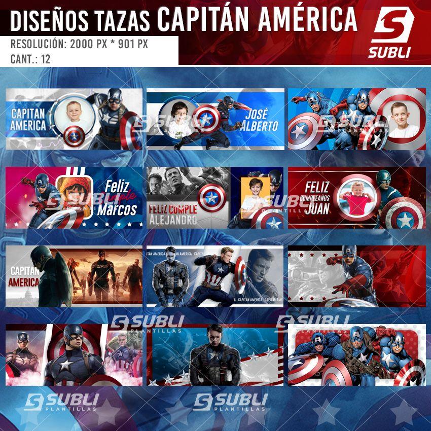 diseños para tazas de captain america