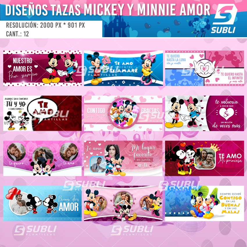 diseños para tazas de mickey y minnie amor