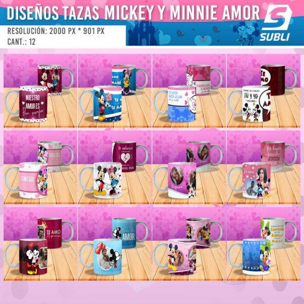 diseños plantillas para sublimar tazas del dia de los enamorados mickey y minnie