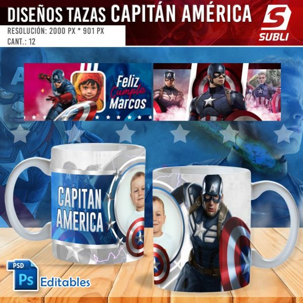 plantillas para sublimar tazas de capitán américa