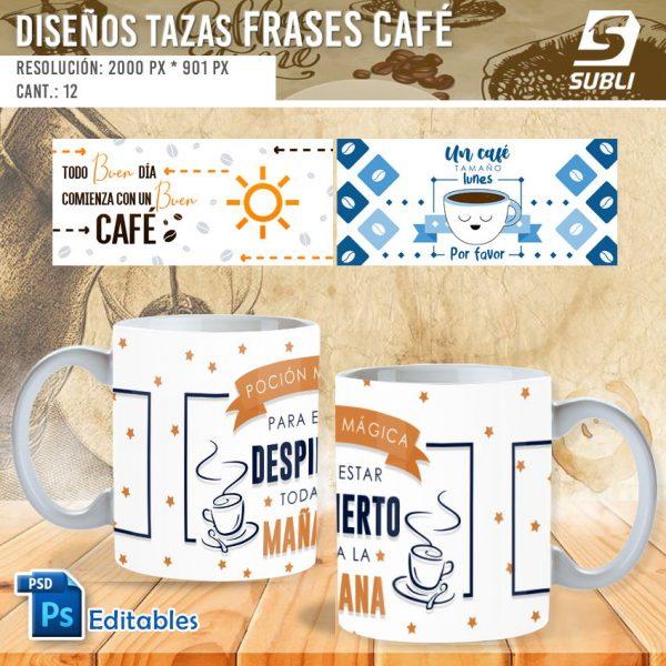 plantillas para sublimar tazas frases de café