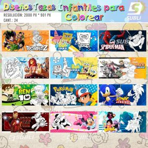 diseños para tazas infantiles para colorear