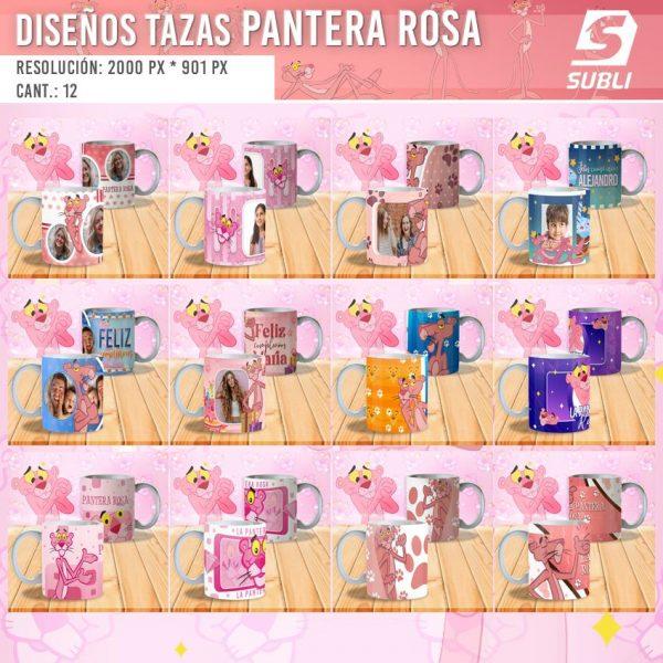 diseños plantillas para sublimar tazas de la pantera rosa