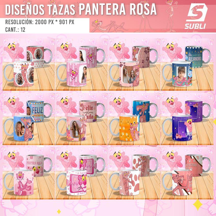 diseños plantillas para sublimar tazas pantera rosa