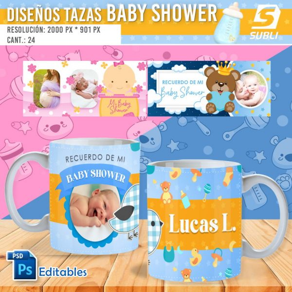 plantillas para sublimar tazas de baby shower