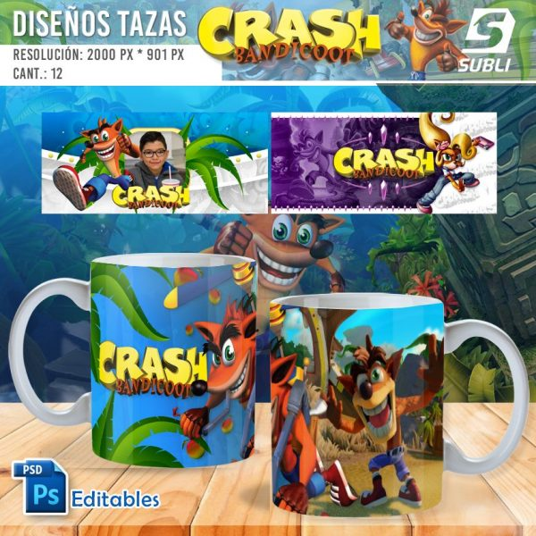 plantillas para sublimar tazas de crash bandicoot