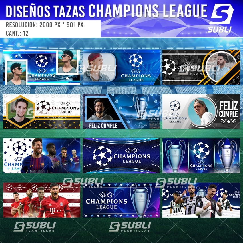 diseños para tazas de guardianes de la champions league