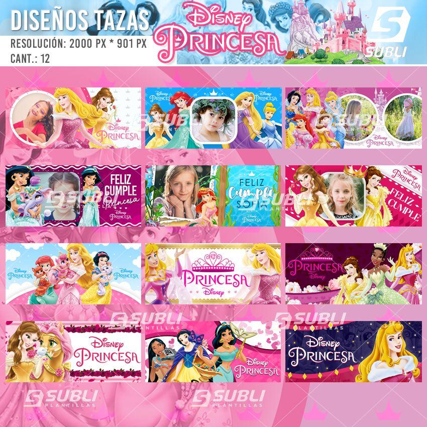 diseños para tazas de las princesas disney