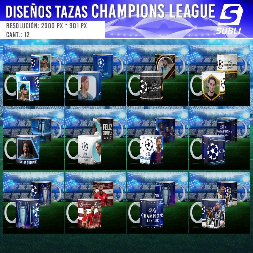 diseños plantillas para sublimar tazas champions league