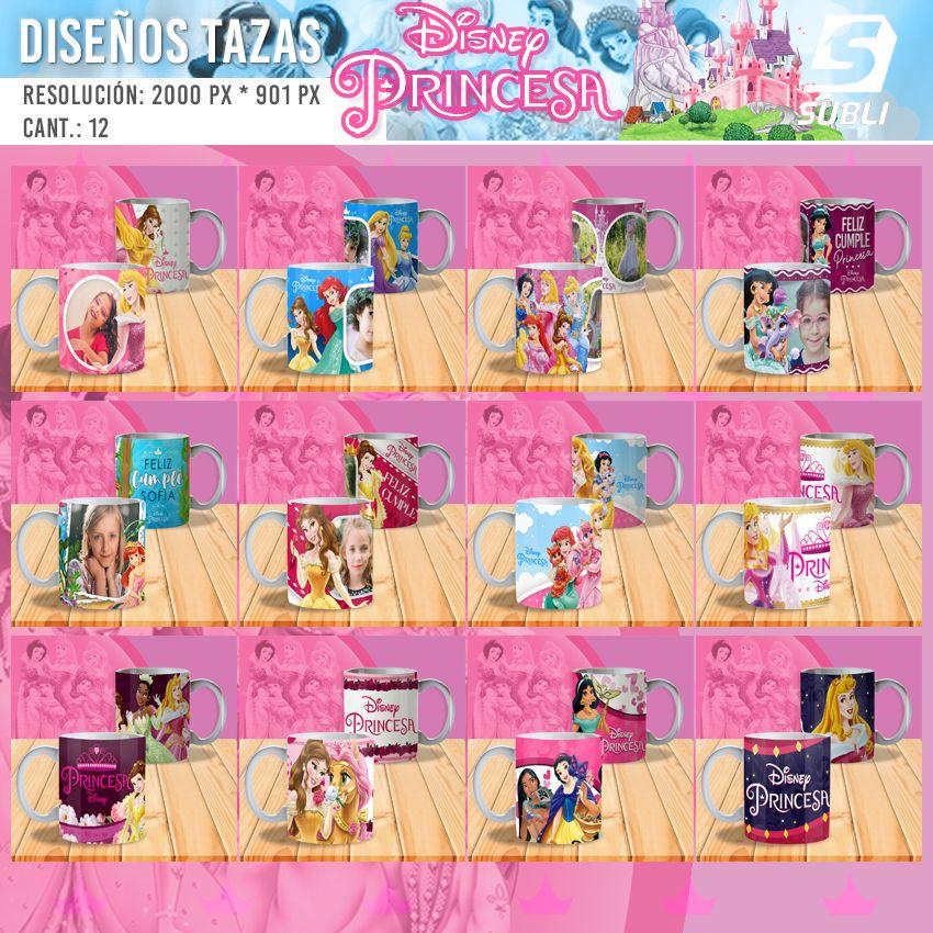 diseños plantillas para sublimar tazas de disney princesas