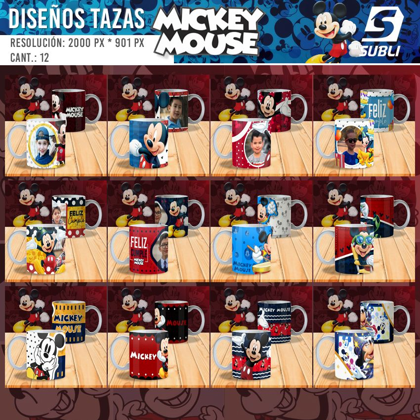 diseños plantillas para sublimar tazas mickey mouse