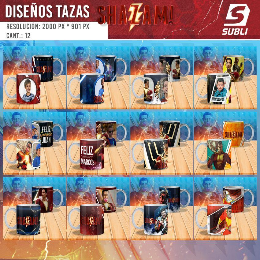 diseños para tazas de shazam