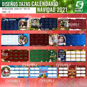 diseños para tazas calendario navideño 2021