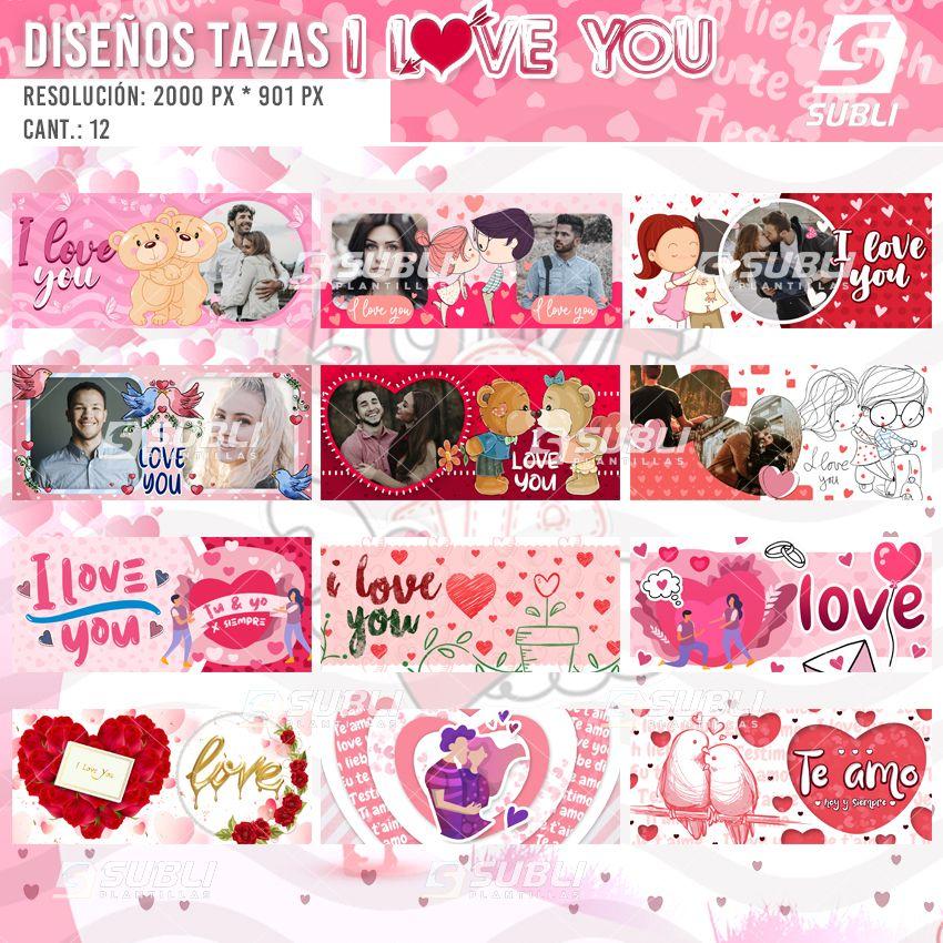 diseños para tazas de i love you