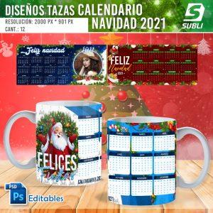 plantillas para sublimar tazas calendario navidad 2021