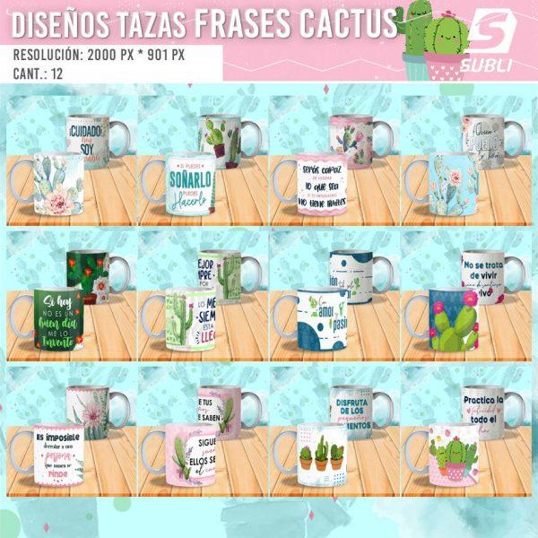 diseños para tazas cactus frases