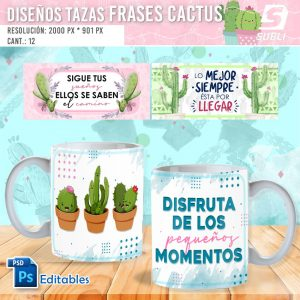 plantillas para sublimar tazas de cactus frases