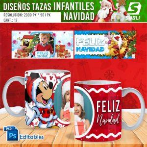 plantillas para sublimar tazas infantiles de navidad