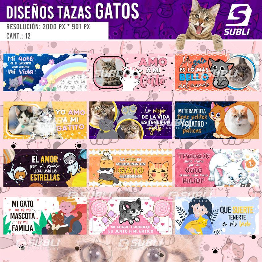 diseños para tazas gatos
