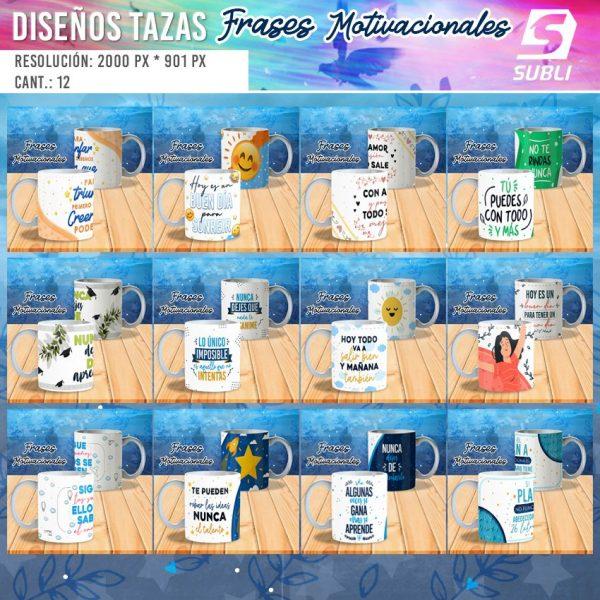 diseños para tazas con frases motivacionales