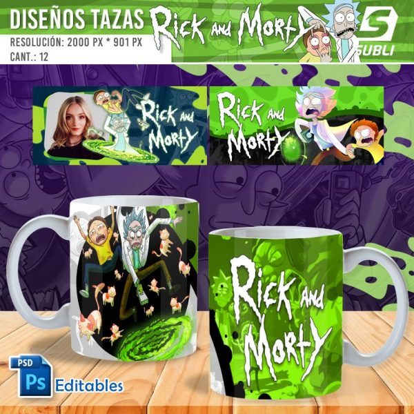 plantillas para sublimar tazas de rick y morty