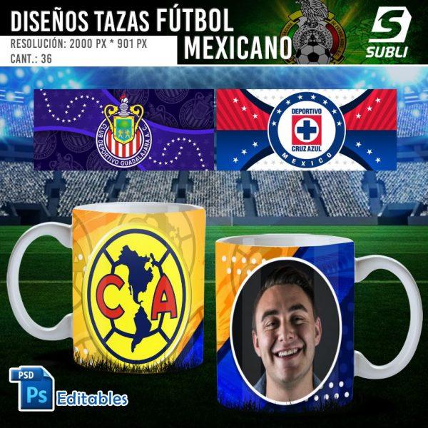 plantillas para sublimar tazas de fútbol mexicano